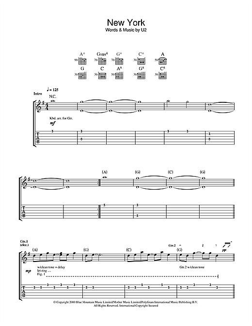 U2 New York sheet music notes and chords. Download Printable PDF.