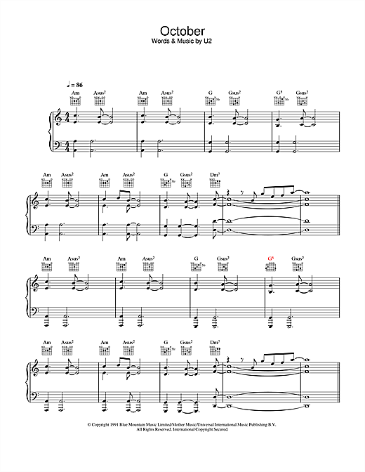 U2 October sheet music notes and chords. Download Printable PDF.