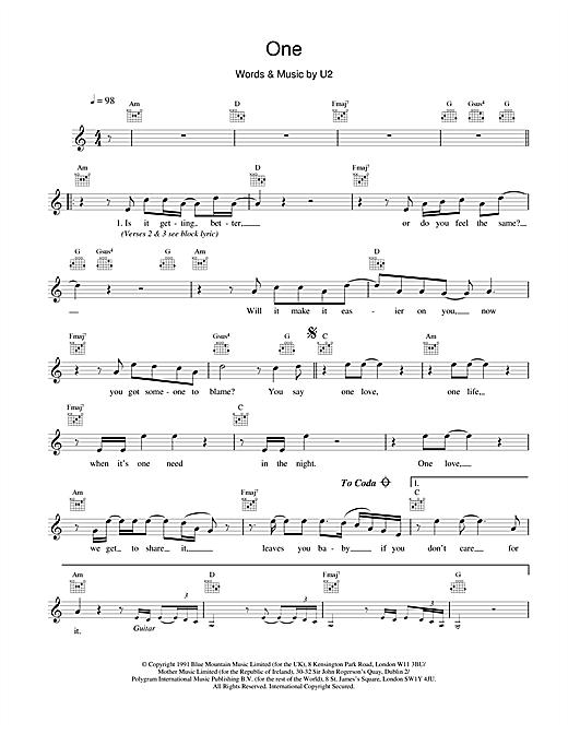 U2 One sheet music notes and chords. Download Printable PDF.