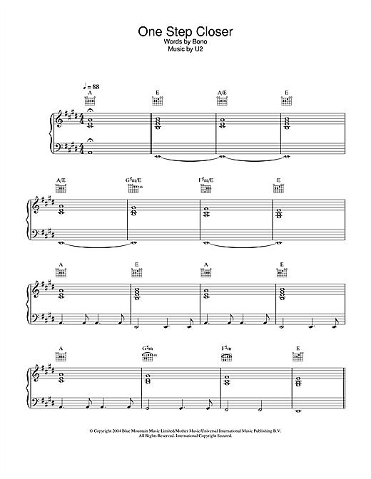 U2 One Step Closer Sheet Music Notes Chords Download Printable Guitar Tab Sku 30997