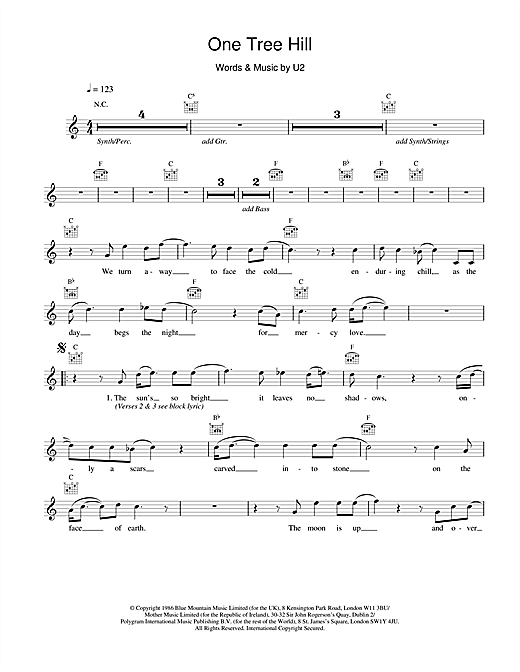 U2 One Tree Hill sheet music notes and chords