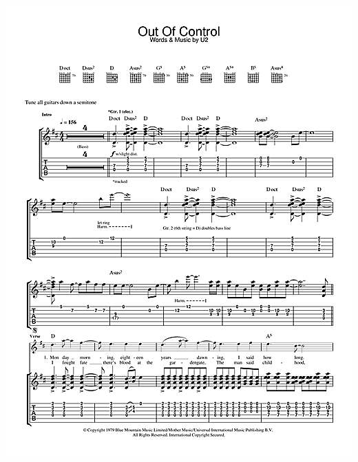 U2 Out Of Control sheet music notes and chords. Download Printable PDF.