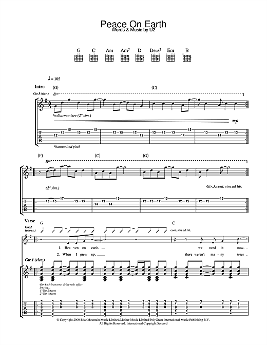 U2 Peace On Earth sheet music notes and chords. Download Printable PDF.