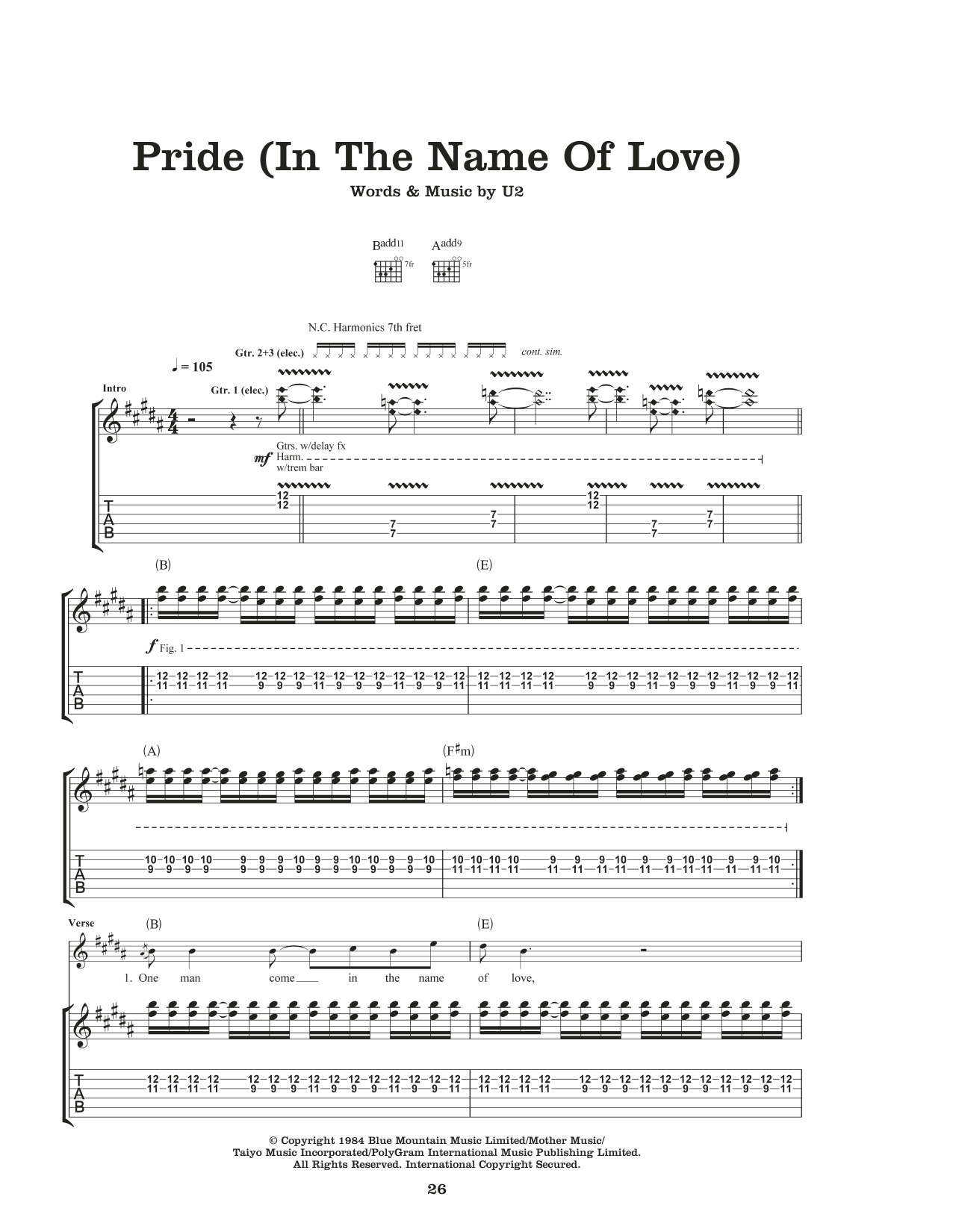 U2 Pride (In The Name Of Love) sheet music notes and chords. Download Printable PDF.