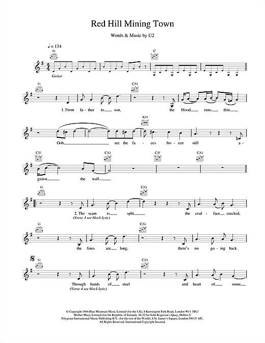 U2 Red Hill Mining Town sheet music notes and chords