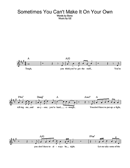 U2 Sometimes You Can't Make It On Your Own sheet music notes and chords. Download Printable PDF.
