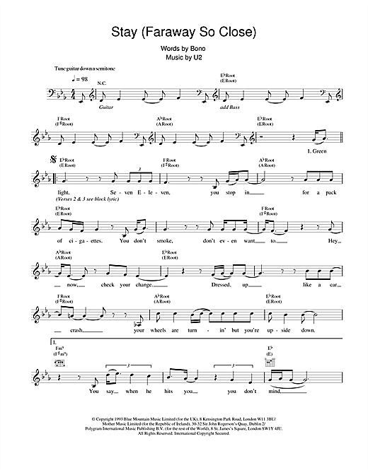 U2 Stay (Faraway, So Close!) sheet music notes and chords. Download Printable PDF.