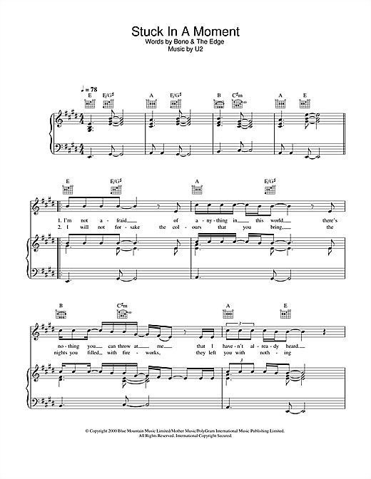 U2 Stuck In A Moment You Can't Get Out Of sheet music notes and chords. Download Printable PDF.