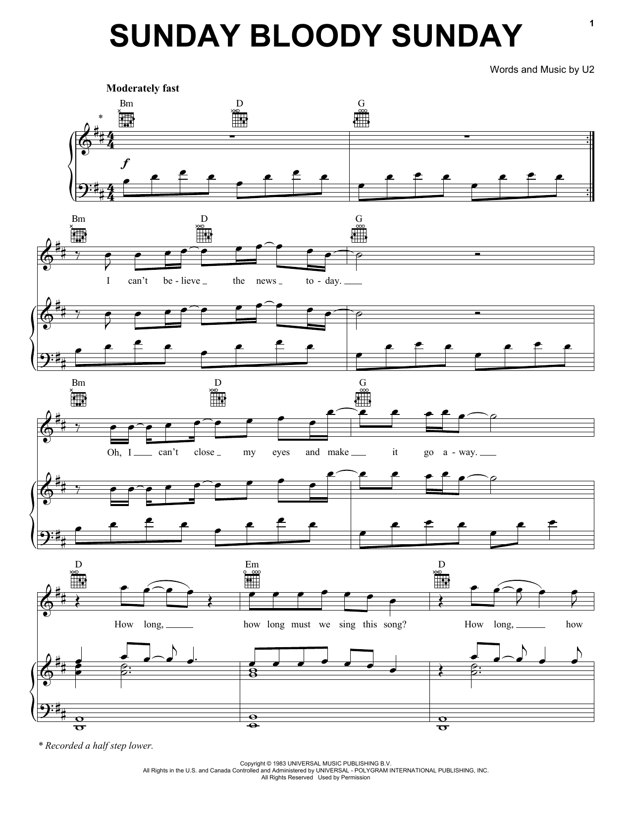 U2 Sunday Bloody Sunday sheet music notes and chords