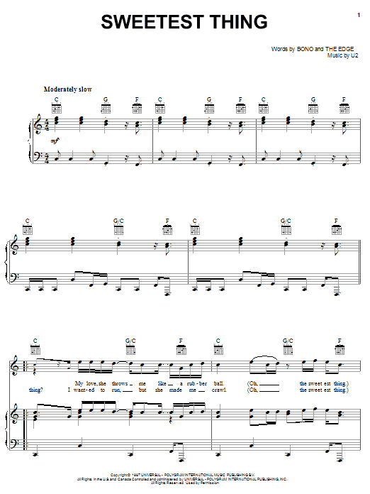 U2 Sweetest Thing sheet music notes and chords. Download Printable PDF.
