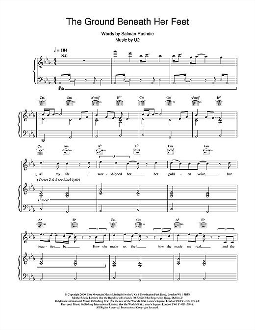 U2 The Ground Beneath Her Feet (from The Million Dollar Hotel) sheet music notes and chords