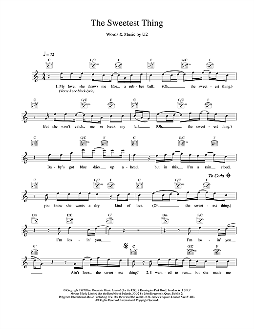 U2 The Sweetest Thing sheet music notes and chords