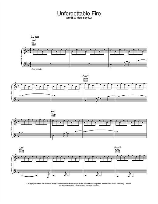 U2 The Unforgettable Fire sheet music notes and chords. Download Printable PDF.
