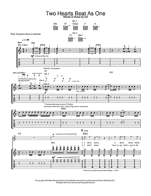 U2 Two Hearts Beat As One sheet music notes and chords. Download Printable PDF.