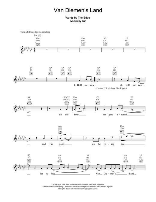 U2 Van Diemen's Land sheet music notes and chords