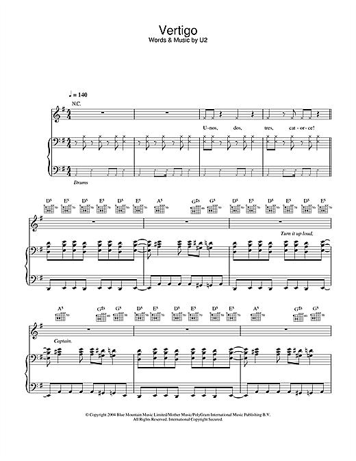 U2 Vertigo sheet music notes and chords. Download Printable PDF.