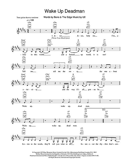 U2 Wake Up Dead Man sheet music notes and chords. Download Printable PDF.