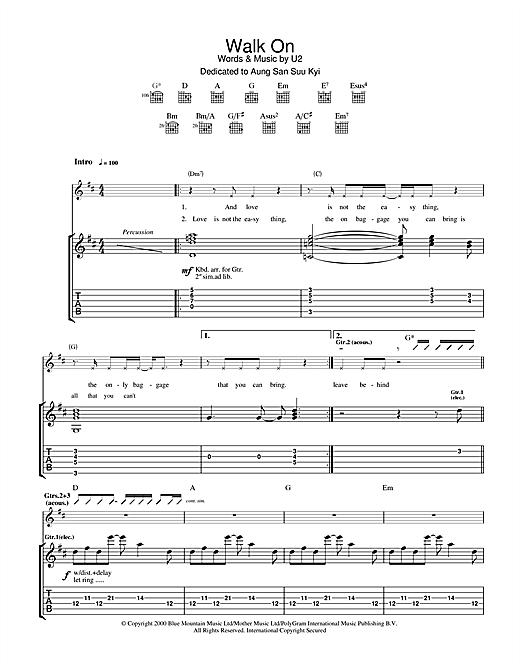 U2 Walk On sheet music notes and chords. Download Printable PDF.