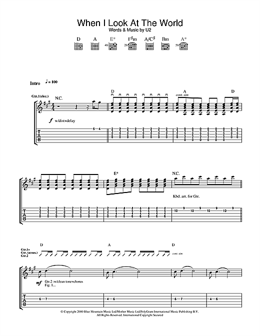 U2 When I Look At The World sheet music notes and chords. Download Printable PDF.