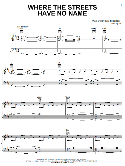 U2 Where The Streets Have No Name sheet music notes and chords. Download Printable PDF.