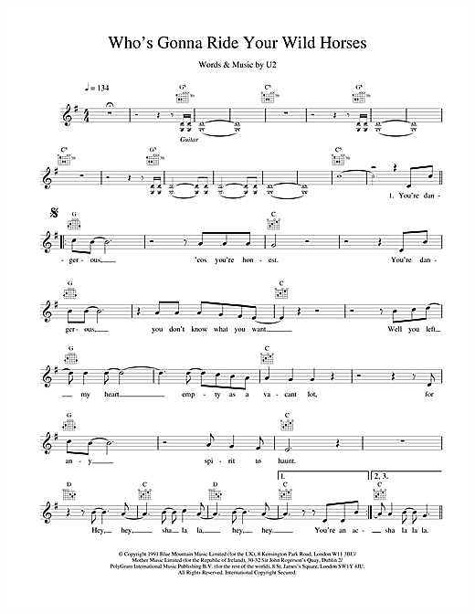 U2 Who's Gonna Ride Your Wild Horses sheet music notes and chords. Download Printable PDF.