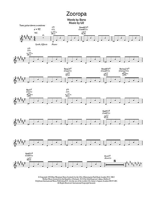 U2 Zooropa sheet music notes and chords