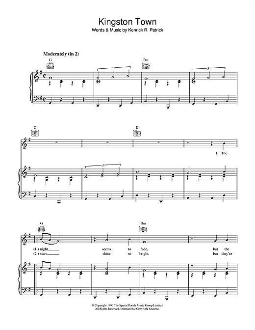 UB40 Kingston Town sheet music notes and chords. Download Printable PDF.