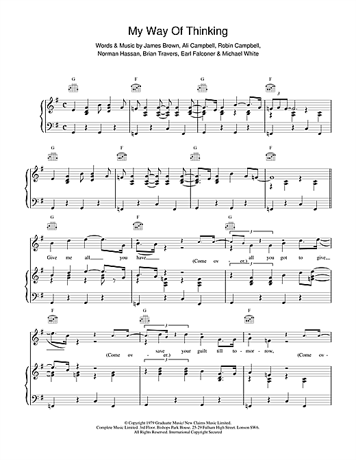 UB40 My Way Of Thinking sheet music notes and chords. Download Printable PDF.