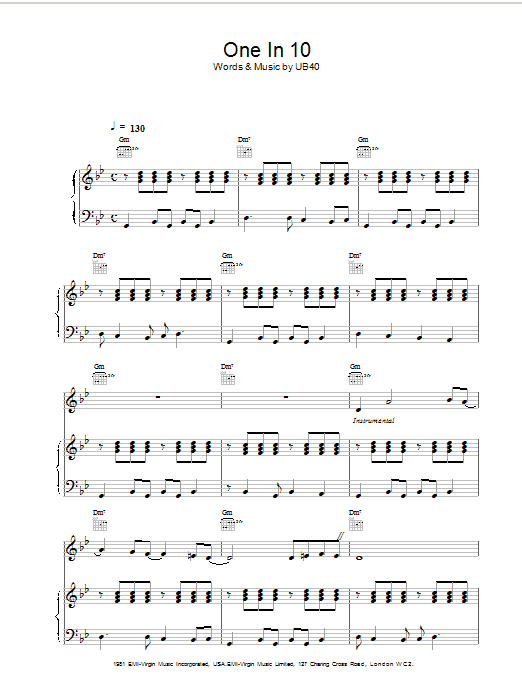 UB40 One In Ten sheet music notes and chords. Download Printable PDF.