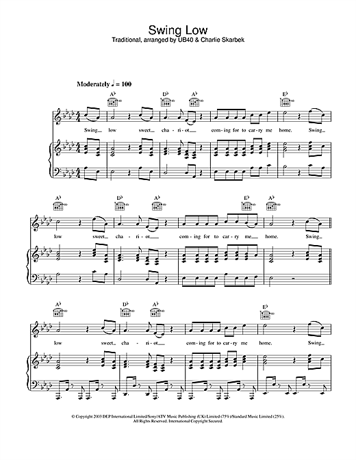 UB40 Swing Low sheet music notes and chords. Download Printable PDF.