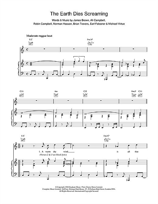 UB40 The Earth Dies Screaming sheet music notes and chords