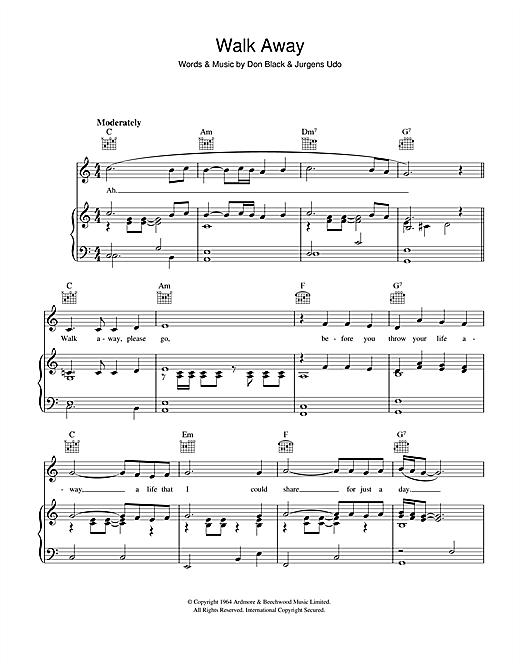 Udo Jurgens Walk Away sheet music notes and chords