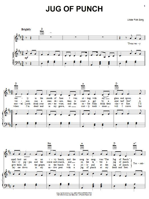 Ulster Folk Song Jug Of Punch sheet music notes and chords. Download Printable PDF.