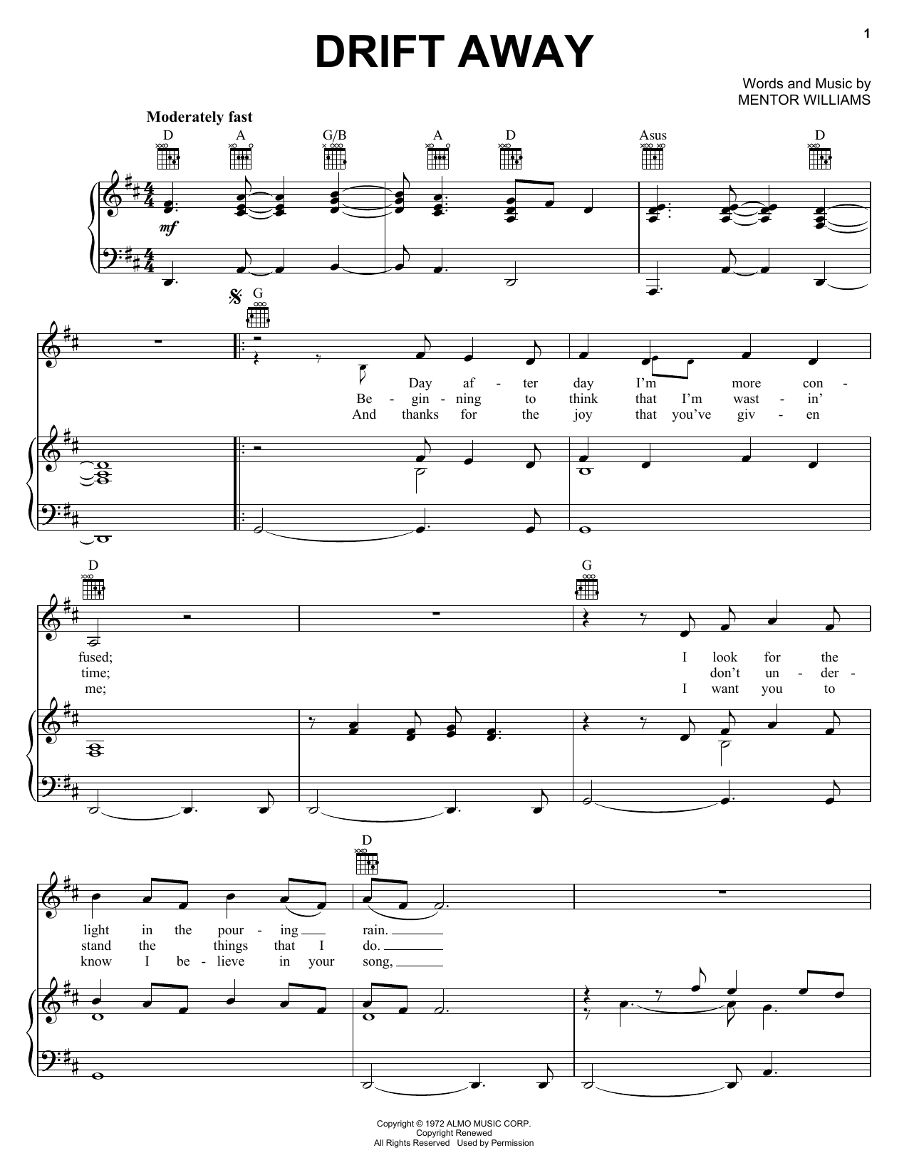Uncle Kracker Drift Away sheet music notes and chords. Download Printable PDF.
