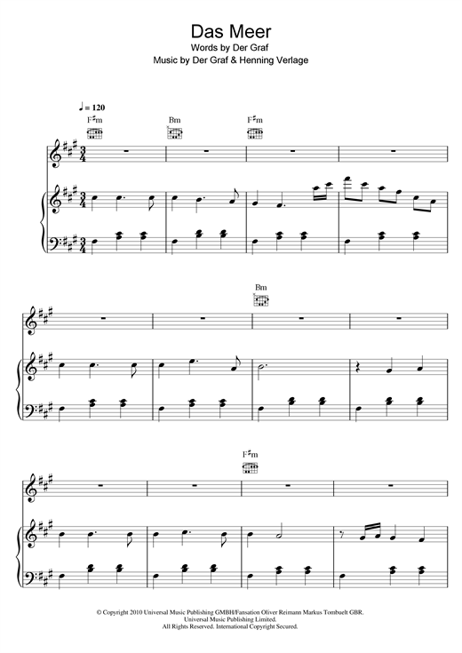 Unheilig Das Meer sheet music notes and chords. Download Printable PDF.