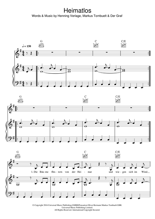 Unheilig Heimatlos sheet music notes and chords. Download Printable PDF.