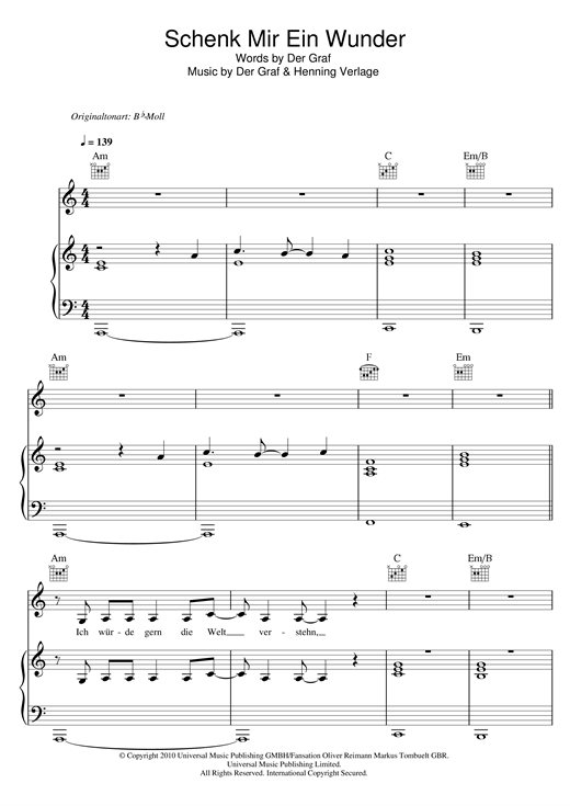 Unheilig Schenk Mir Ein Wunder sheet music notes and chords. Download Printable PDF.