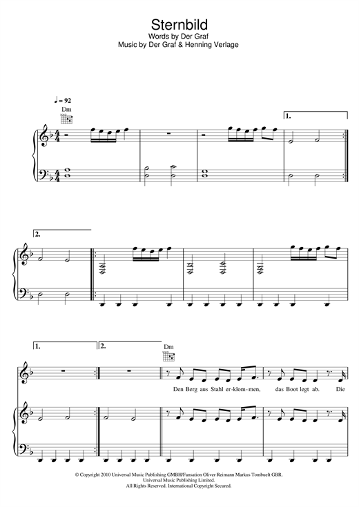 Unheilig Sternbild sheet music notes and chords. Download Printable PDF.