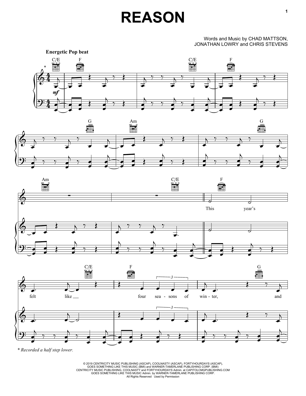 Unspoken Reason sheet music notes and chords