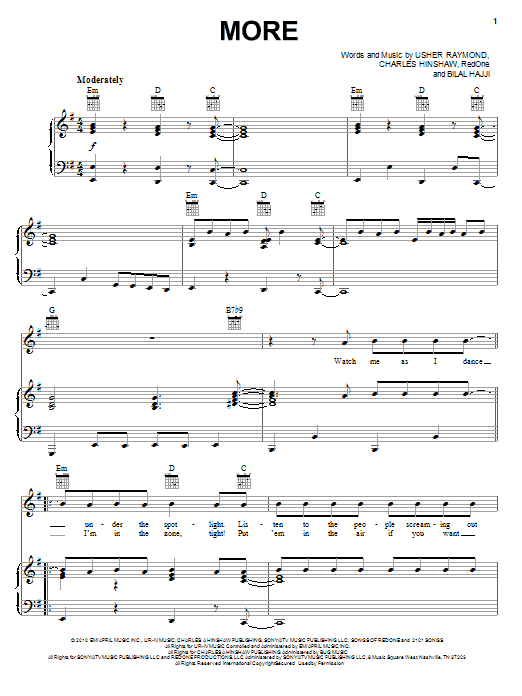 Usher More sheet music notes and chords