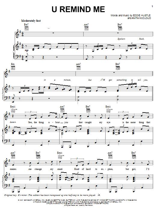 Usher U Remind Me sheet music notes and chords. Download Printable PDF.