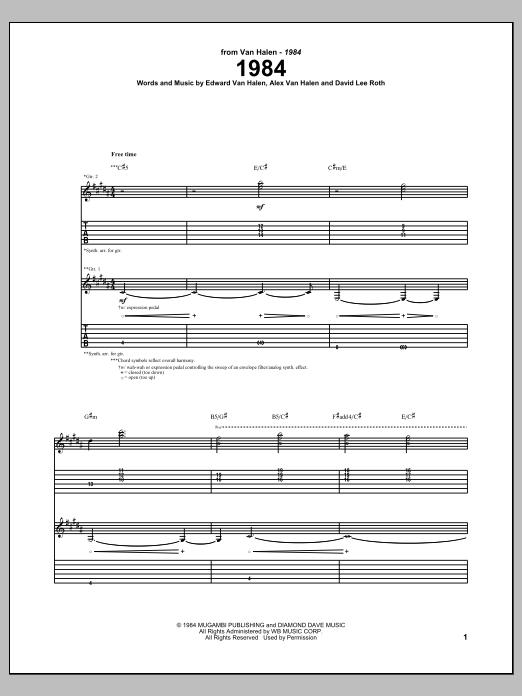 Van Halen 1984 sheet music notes and chords. Download Printable PDF.