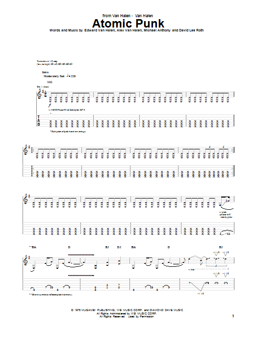 Van Halen Atomic Punk sheet music notes and chords