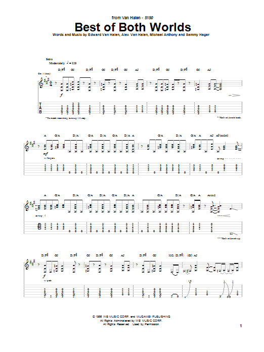 Van Halen Best Of Both Worlds sheet music notes and chords. Download Printable PDF.