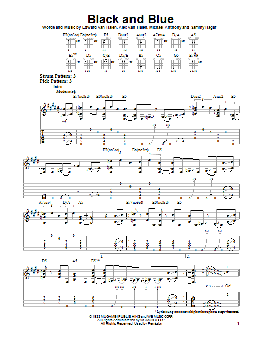 Van Halen Black And Blue sheet music notes and chords. Download Printable PDF.