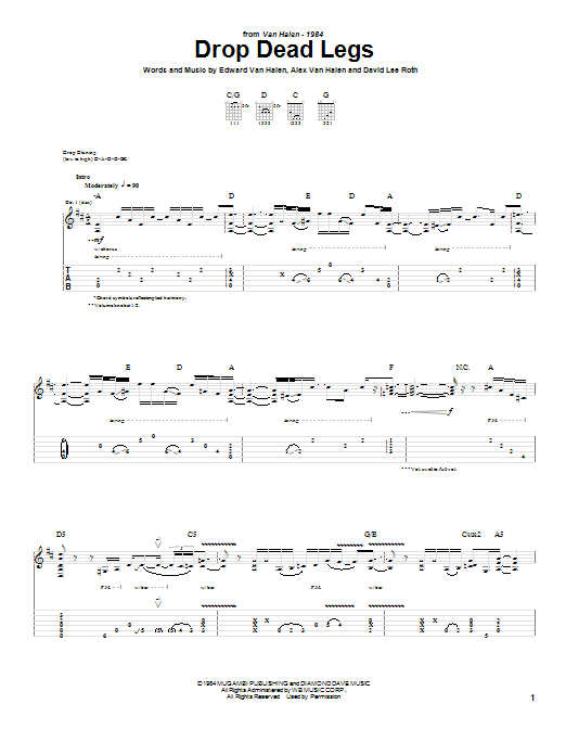 Van Halen Drop Dead Legs sheet music notes and chords. Download Printable PDF.