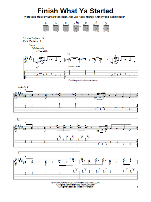 Van Halen Finish What Ya Started sheet music notes and chords. Download Printable PDF.