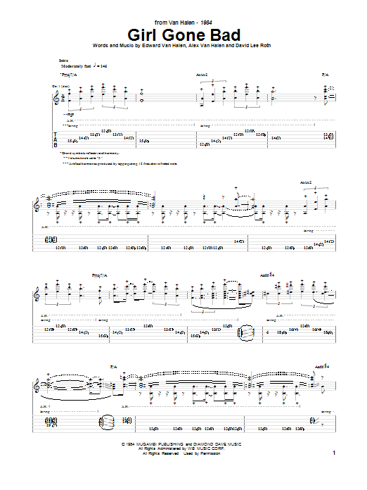 Van Halen Girl Gone Bad sheet music notes and chords. Download Printable PDF.