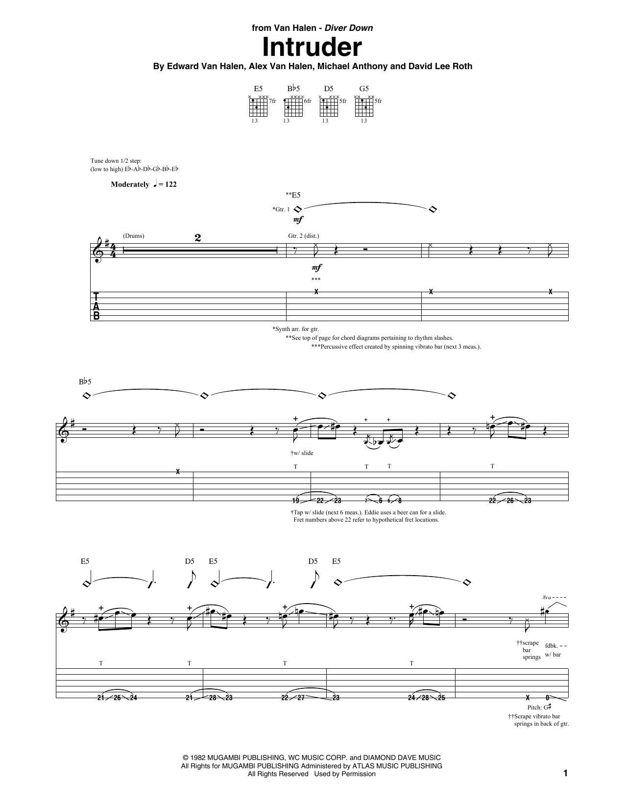 Van Halen Intruder sheet music notes and chords. Download Printable PDF.