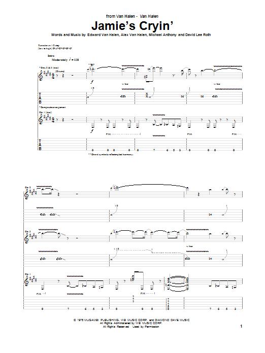 Van Halen Jamie's Cryin' sheet music notes and chords. Download Printable PDF.